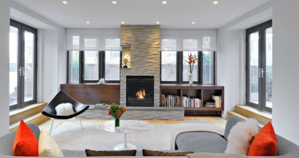 Gorgeous fireplace warms up the modern interiors