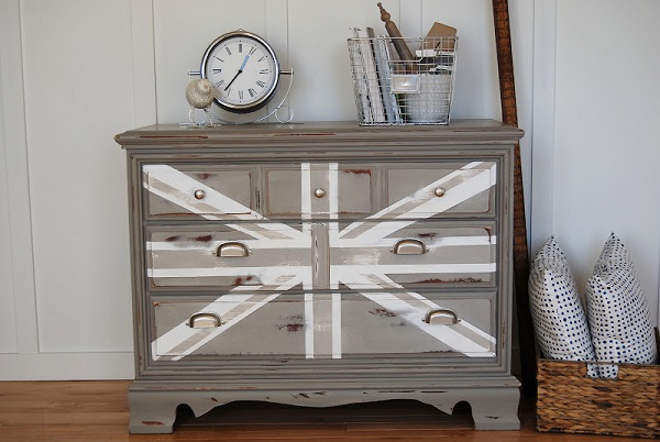 Gray and white union jack dresser