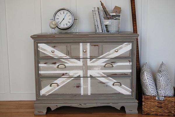 Gray and white union jack dresser