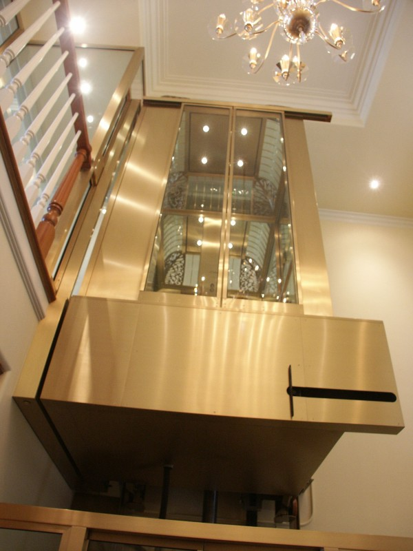 Modern brass and glass