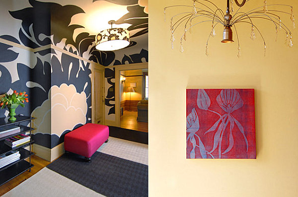 Hand painted wall mural in a crisp interior Eye Catching Wall Mural Ideas for Your Interior