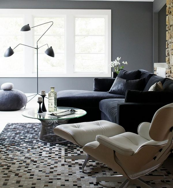 Iconic Serge Mouille Floor Lmap coupled with the Wool Stones