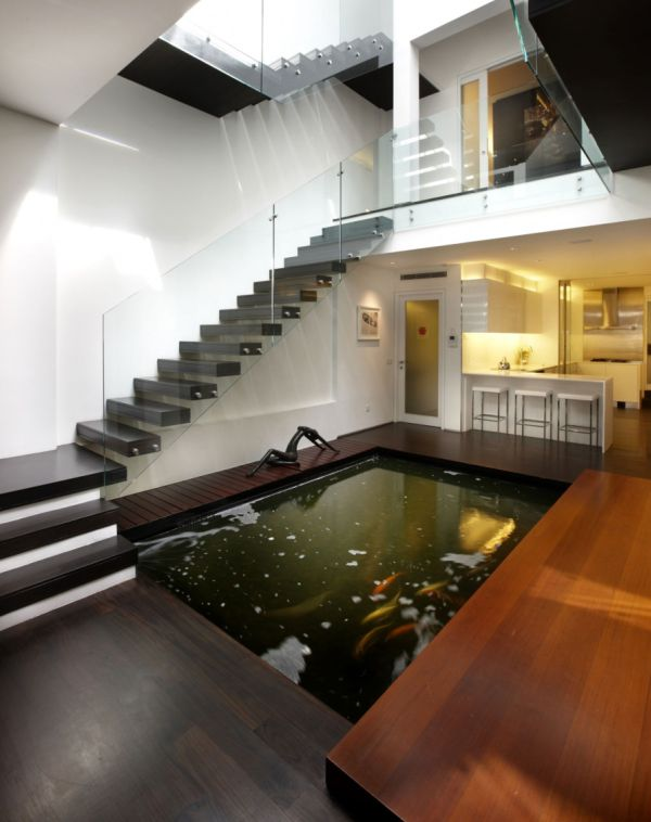 View In Gallery Indoor Koi Pond For A Contemporary Home
