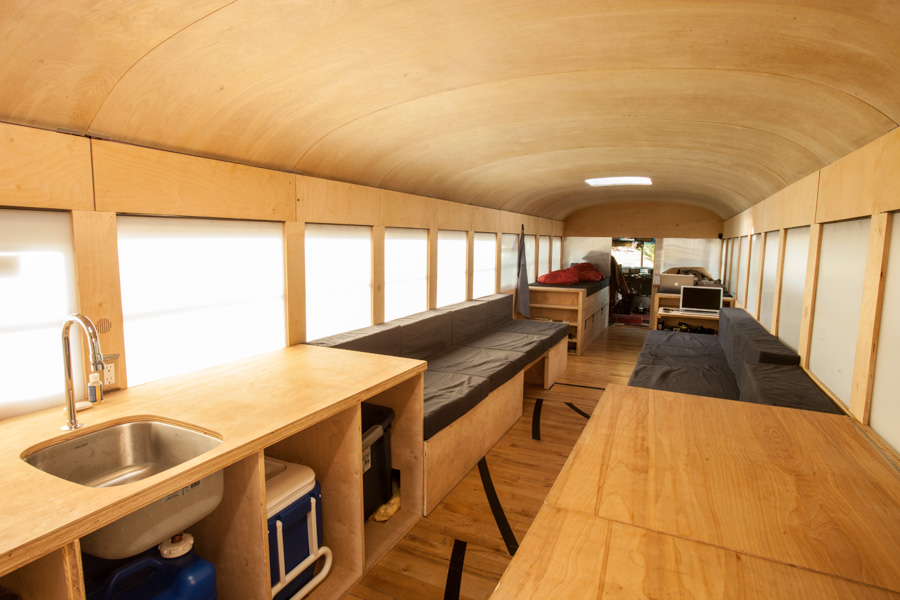 Interiors of the Restored Mobile Bus Home Mobile Bus Home: Smart Renovation Wheels In Ergonomics And Ease