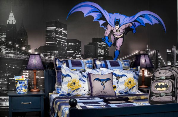 Kids' bedroom with a Batman theme