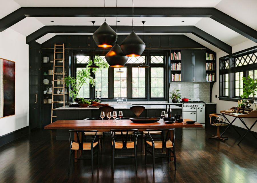 Large dining space in the renovated home