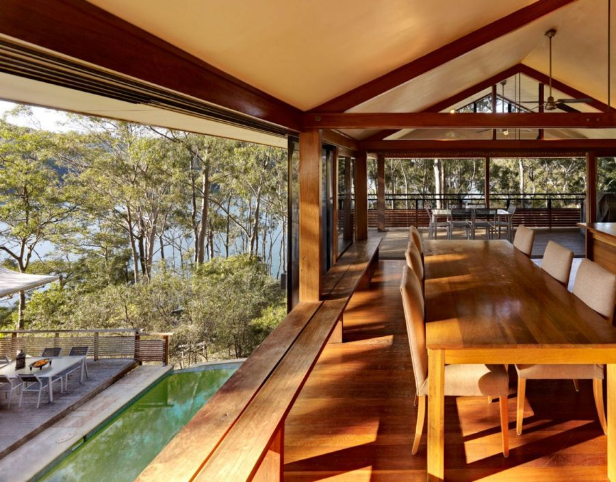 Large sliding glass doors at the Treetops