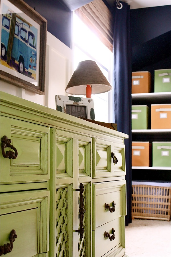 Lime green dresser with bronze handles