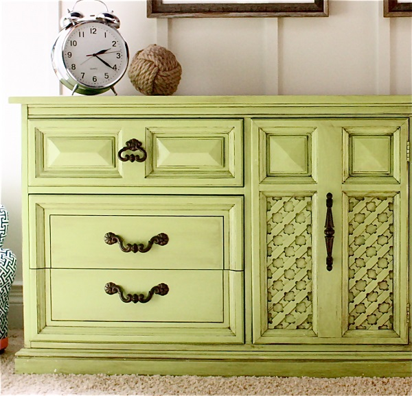 Lime green dresser with bronze hardware