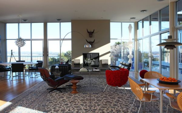 Living room brings together the Eames Lounger, Arco Floor Lamp and the Walnut Stool!