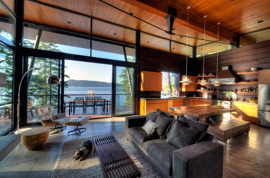 Living room of Coeur D'Alene Lake Cabin Elegant Coeur D'Alene Cabin Blends Lovely Lake Views With Modern Interiors