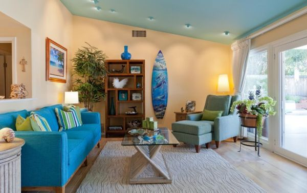 View In Gallery Living Room With Colors Of The Ocean