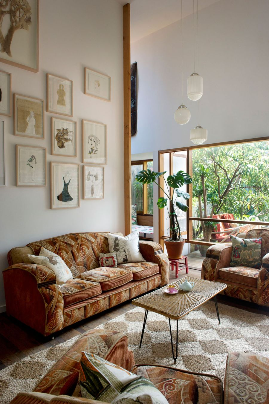 Living room with eclectic theme