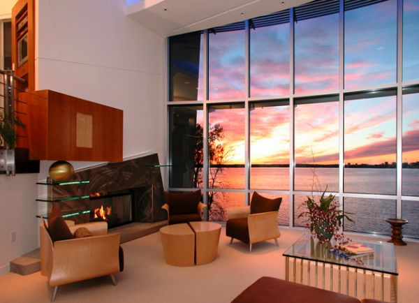 Living room wows you with its view!