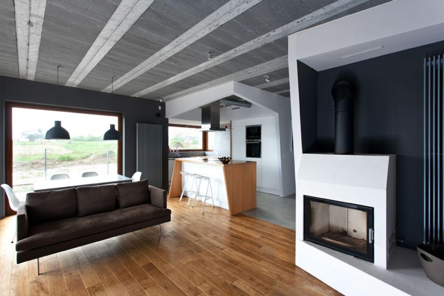 Living space at the Beam&Block House