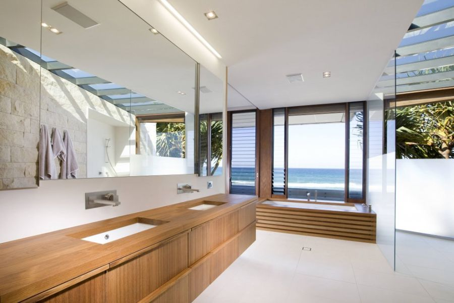 Look inside the contemporary bathroom in white