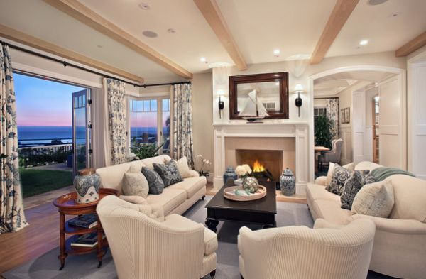 Lovely living room in white with a wonderful view