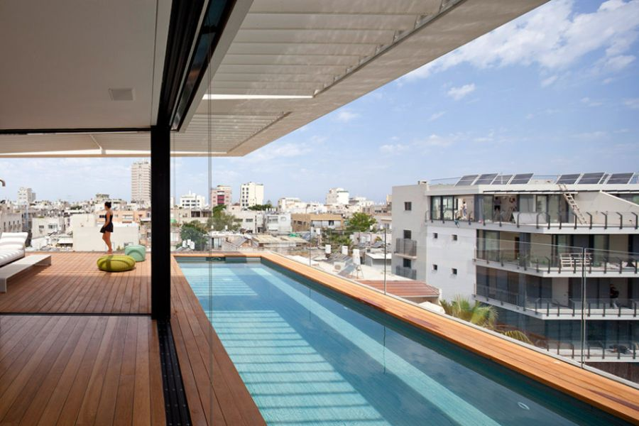 Luxurious deck area offers amazing views of Tel Aviv