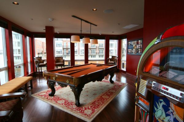 Pool Room Furniture Ideas billiard room design ideas View In Gallery Make The Pool Table The Focal Point Of The Room