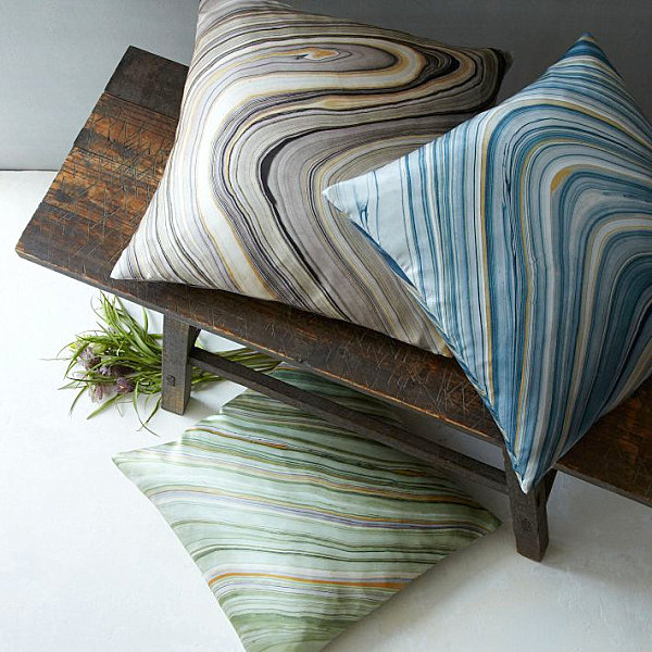 Marble print silk pillow covers
