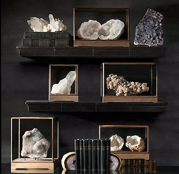 Mineral specimens on shelf and table