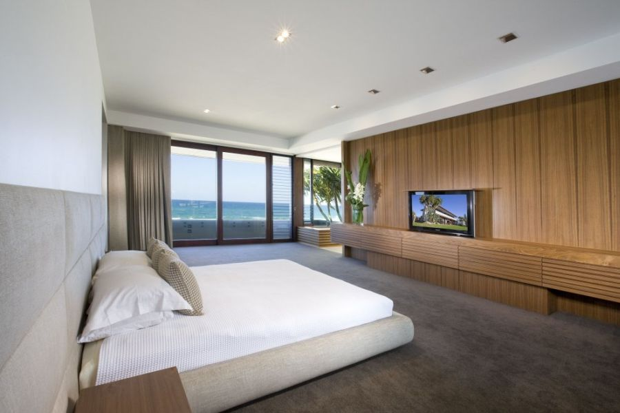 Modern bedroom with ocean views