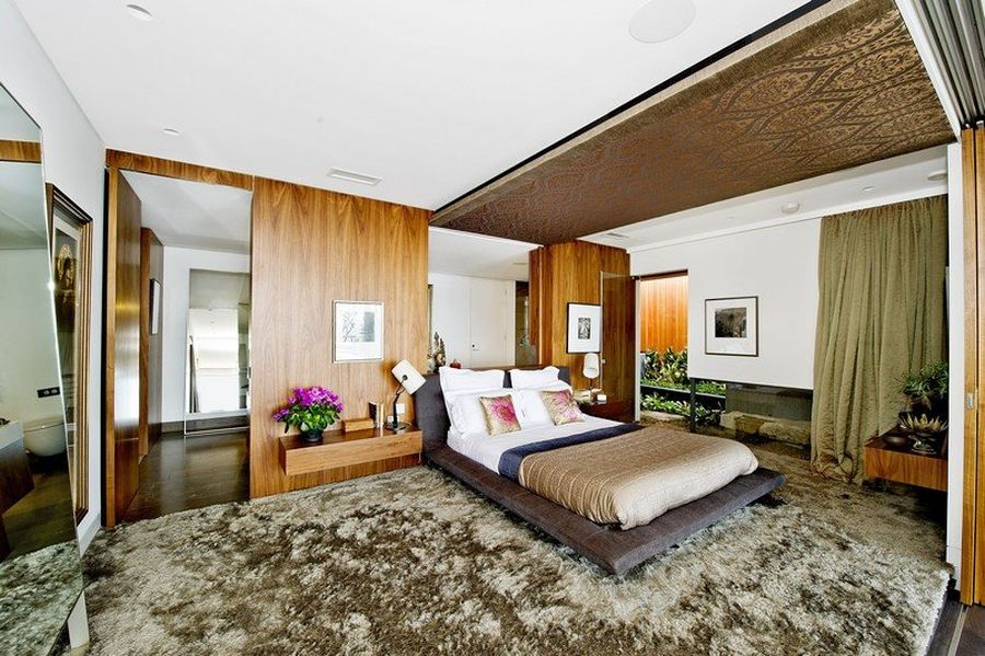 Modern bedroom with wooden accents