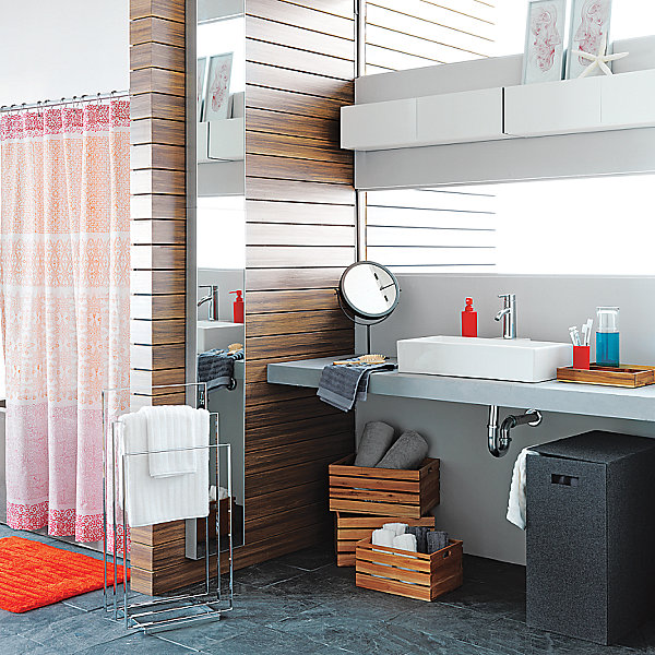 Modern color blocked shower curtain