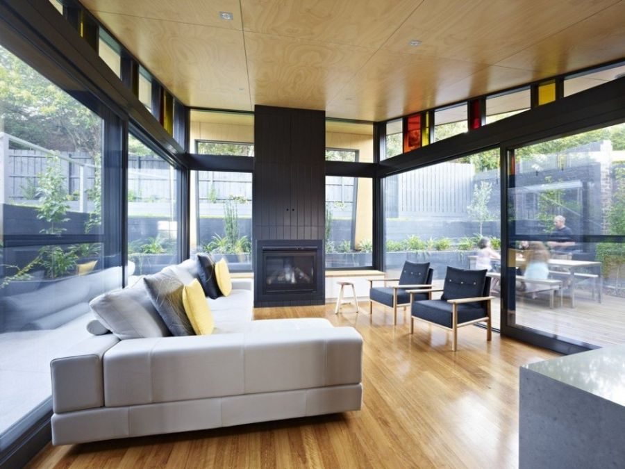 view in gallery modern family room with fireplace - Home Extensions Melbourne