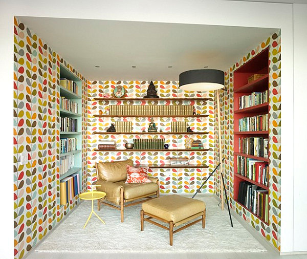 Modern lamp in a wallpapered space