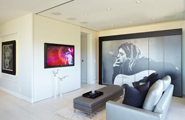 modern living area featuring the rock legend kurt cobain morphs into a