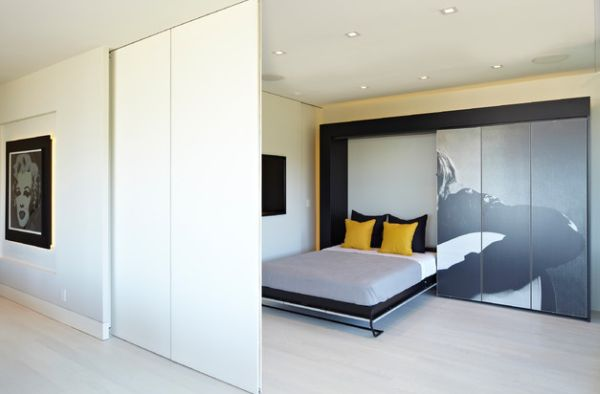 Morphs into a sleek and stylish bedroom thanks to the Murphy bed!