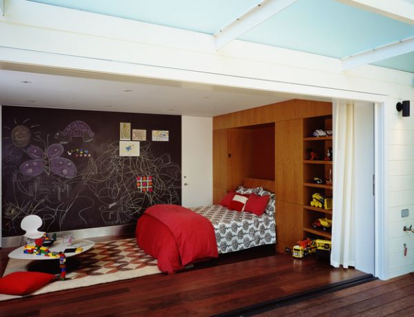Murphy Bed wall unit provides ample storage space in the kids' bedroom
