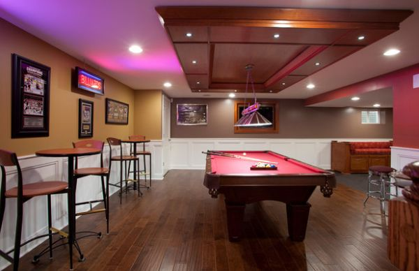Neon lights give the game room a sense of authenticity!