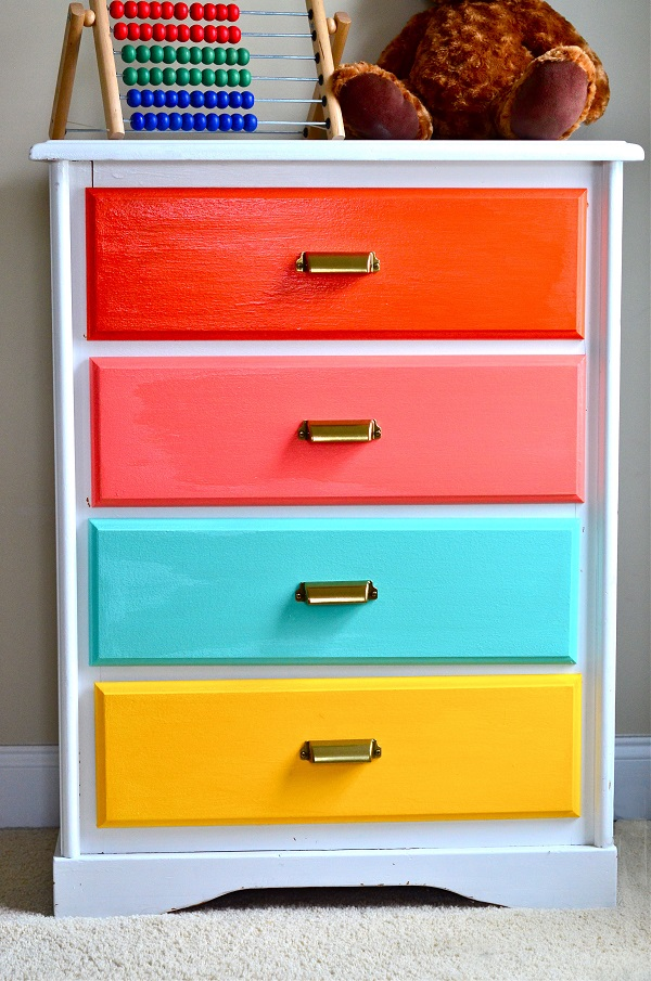 Neon rainbow dresser drawers