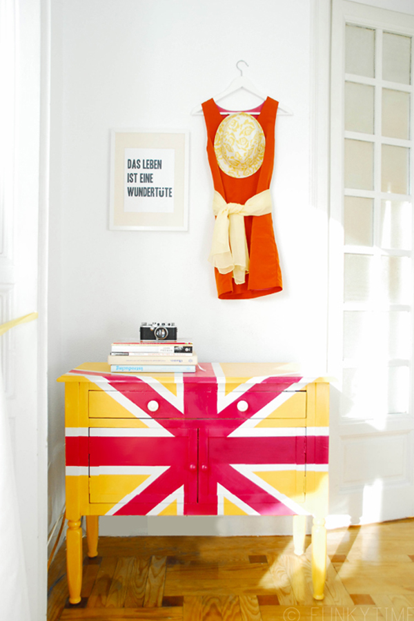 Neon union jack cupboard