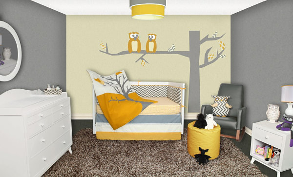 Owl and chevron nursery