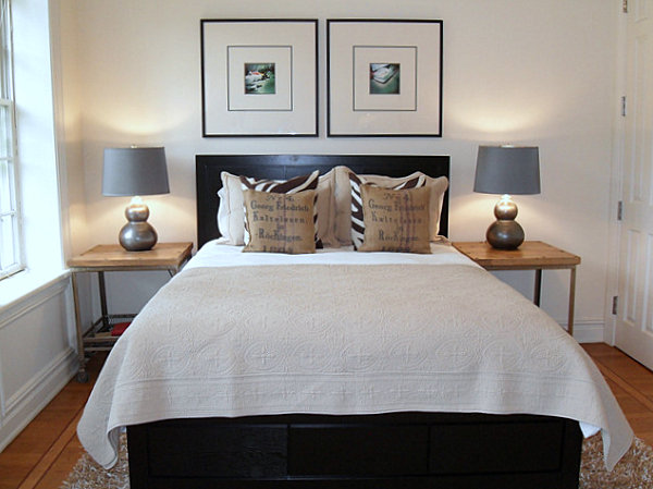 Pairs of decorative items in a guest room