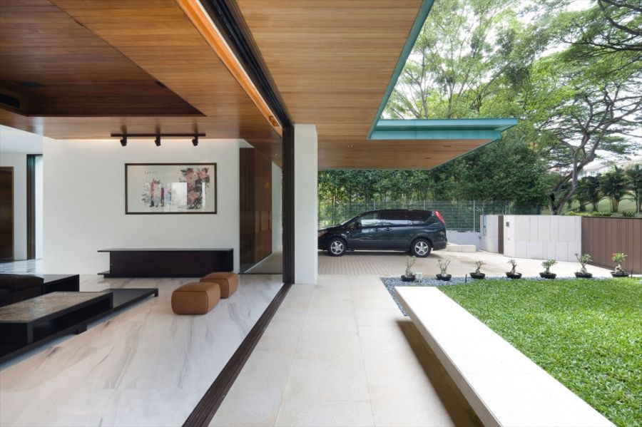 Parking space and outdoor lounge