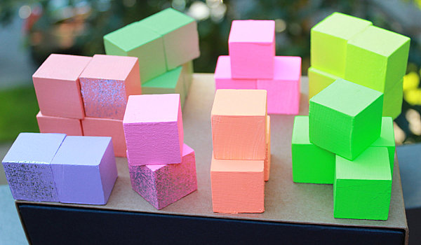 Pastel and neon wooden blocks