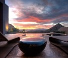Patio with an incredible view and the sleek River Stone Table - A scene from Star Trek