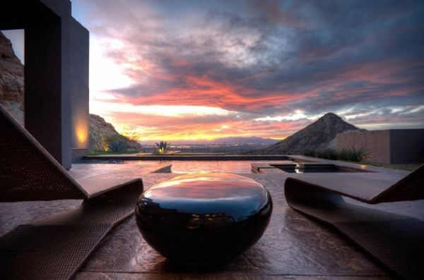 Patio with an incredible view and the sleek River Stone Table – A scene from Star Trek