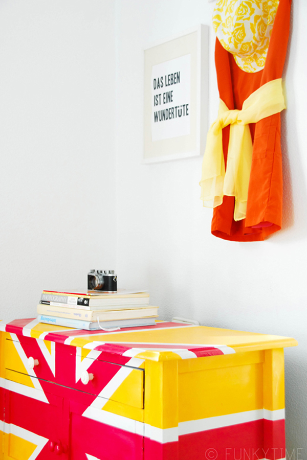 Pink and yellow union jack cupboard