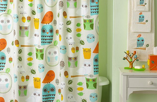 Playful owl-themed shower curtain