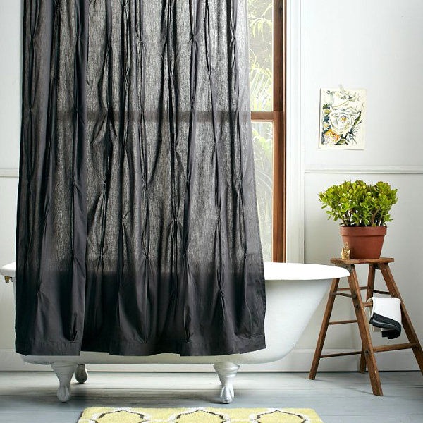 Pleated shower curtain