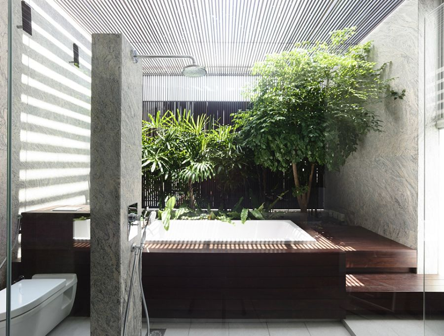 Plenty of natural green in the bathroom
