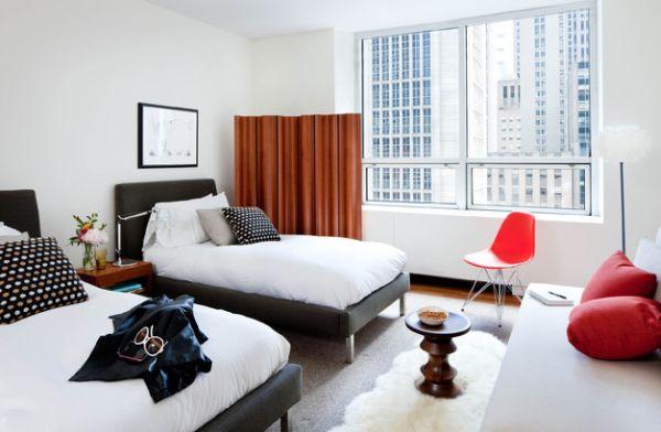 Plush bedroom showcases the Walnut Stool