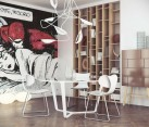 Pop art comic book-inspired wall mural in the dining area