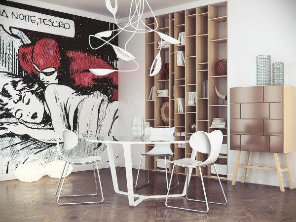 Pop art comic book inspired wall mural in the dining area Comic Strip Decor Inspirations For The Contemporary Home!