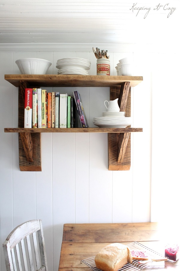 Reclaimed wood kitchen shelf